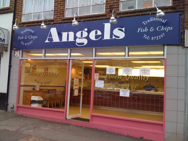 Angels fish and chip shop sign